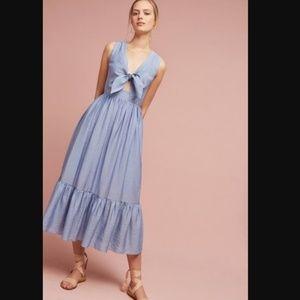 Anthro Shoshanna Kayla Tie-Front Midi Dress Stripe